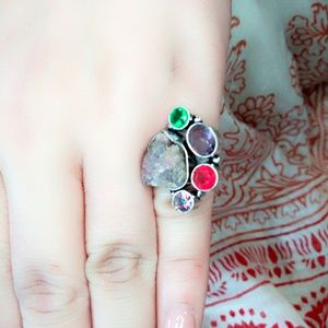 Druzy and Quartz Silver Ring
